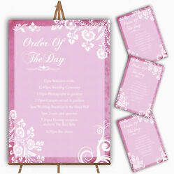Rustic Pink Lace Personalised Wedding Order Of The Day Cards And Signs
