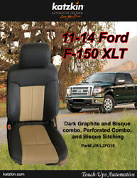 11 12 13 14 Ford F-150 Xlt Supercrew Katzkin Leather Seat Covers Adobe Graphite