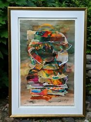 Selma Glass The Eye Of The Storm 26x41 Original Paper Collage Mixed Media Art