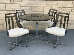 Mid Century Modern Brody Seating Co. Smoke Lucite & Chrome Dining Table 4 Chairs