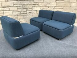 Set of 3 Post Modern Thonet Cube Sofa Sectional Slipper Chairs in Blue