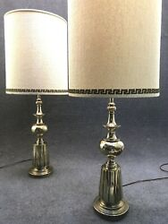 Pair of Mid Century Hollywood Regency Stiffel Brass Table Lamps w/ Shades