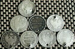 Lot Of 8 Russian Imperial Silver Coins Poltina Different Years And Emperors