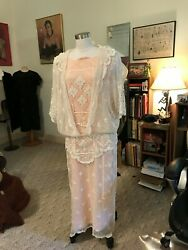 Antique Vtg. 1910/20and039s Beaded Edwardian/flapper Elegant Lace Wedding Gown W/jac