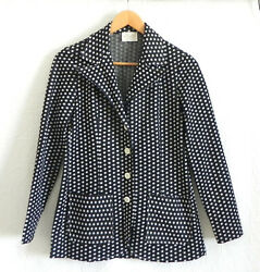 Vtg Vivo By Susan Thomas Jacket Polka Dots 4 Button Pockets Long Sleeve Size S