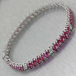Modern 14k White Gold 6.50ctw Ruby Diamond 2 Row Tennis Bracelet