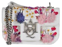 New Alexander Mcqueen $3595 Small Embroidered Floral Leather Insignia Purse