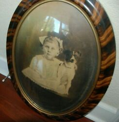 Vintage framed cute girl with dog photograph bubble concave glass photo Terrier