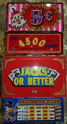 Set Of 4 Vintage Arcade Casino Circus Video Game Glass Panels Panes Signs