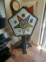 Vintage Masonic Free Masons Eastern Star Lighted Sign Mason Lodge