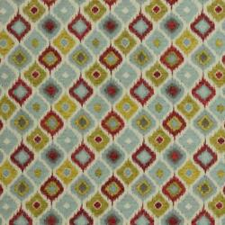 2 Colors Ikat Upholstery Fabric Red Blue Gold / Ft7
