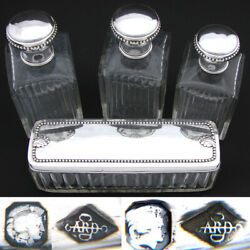 Antique French Sterling Silver And Cut Glass 4p Vanity Set 3 Decanters And 8.5andrdquo Box