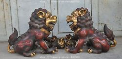 Old Chinese Bronze Gilt Fengshui Foo Dog Lion Beast Guardian Palace Door Statue