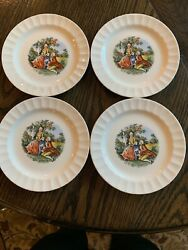 """4 Vintage Cronin China Dessert/bread Plate1879-1956, Dancing Colonial Couple 6"""""""