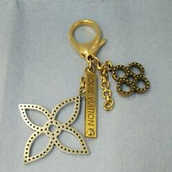 AUTH LOUIS VUITTON BAG CHARM Key Holder Flower Bijoux Tapage USED From Japan
