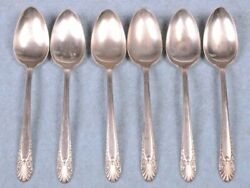 Lot Of 6 Crown / Shell Floral Silverplate Radiance Spoon Teaspoon Size 6 Long
