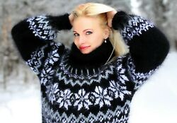 Black Mohair Sweater Hand Knitted Fuzzy Thick Icelandic Nordic Jumper Supertanya