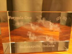 Indianapolis Indiana Hologram Formula One Race Car Crystal Paperweight Vintage