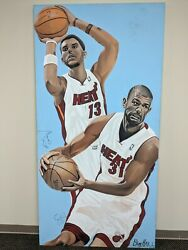 Miami Heat 31 Shane Battier And 13 Mike Miller Don Hall Original Painting Large