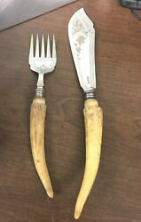 Robert Fead And Mosley Horn Bone Handle Fish Carving Set 1910 Sheffield England