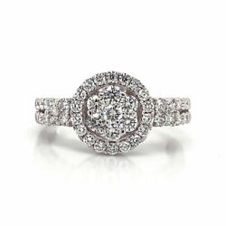 1.02 Cttw Round Cut Diamond Cluster Halo Engagement Ring 18k White Gold