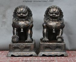 Old Chinese Bronze Fengshui Foo Dog Evil Beast Guardian Palace Door Lion Statue