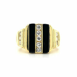 0.50 Cttw Menand039s Round Brilliant Cut Diamond And Black Onyx Ring 18k Yellow Gold