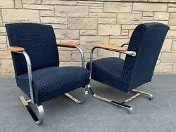 Pair of Art Deco Lloyd KEM Weber Style Chrome Springer Arm Chairs