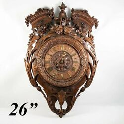 Superb Antique Hc Wood French Wall Clock, 26 X 17, Pendulum, Fruit And Acanthus