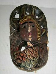 Carved Ethnographic Face Hanging Primitive Driftwood Wall Art Mermaid Goddess