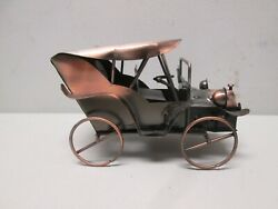 Copper Color Polished Tin Antique Car Music Box Plays Go To Sleep X