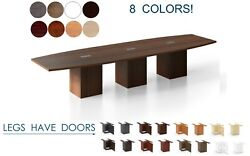 14 Ft Foot Conference Table With Grommets For Power And Legs With Doors 8 Colors