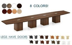 20 Ft Foot Conference Table With Grommets For Power And Legs With Doors 8 Colors