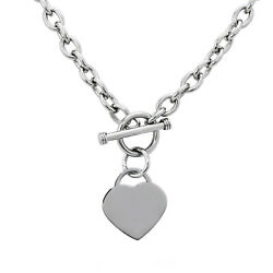 Stainless Steel Silver Heart Charm Tag Pendant Toggle Necklace Cable 18