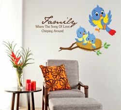 Birds Family Removable Wall Sticker Livingroom Home Vinyl Decal Decor