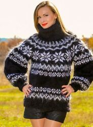 Black Nordic Mohair Sweater Fuzzy Thick Hand Knit Icelandic Jumper Supertanya