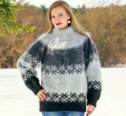 Grey Nordic Mohair Sweater Fuzzy Pullover Icelandic Hand Knit Jumper Supertanya