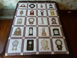 Rare Vintage Clock Quilt By Rhoda New Jersey All Hand Stitched