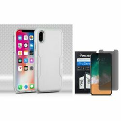 For iPhone XS/X Tuff Hybrid PC/TPU Rubber Case Silver w/Screen Privacy Filter
