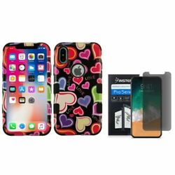 For iPhone XS/X Hearts Hybrid PC/TPU Rubber Case Cover w/Screen Privacy Filter