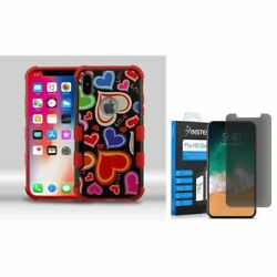 For iPhone XS/X Hearts Hybrid PC/TPU Rubber Case w/Glass Privacy Screen Guard