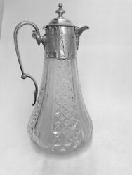 Victorian Silver And Glass Claret Jug - London - 1886 By Heath And Middleton
