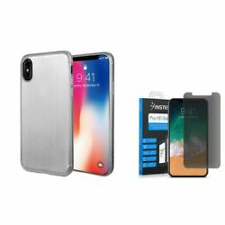 For iPhone XS X TPU Rubber Gel Brushed Case w/Privacy Glass Screen Protector