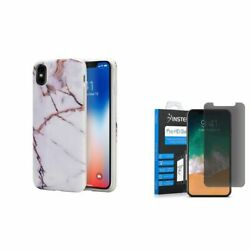 For Apple iPhone XS X Marble TPU Rubber Case w/Privacy Glass Screen Protector