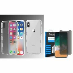 For Apple iPhone XS X Bumper Rubber Case Cover w/Privacy Glass Screen Protector