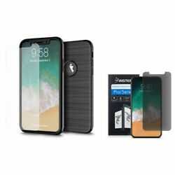 For iPhone X/XS Hybrid Brushed PC/TPU Rubber Case Black w/Privacy Screen Guard