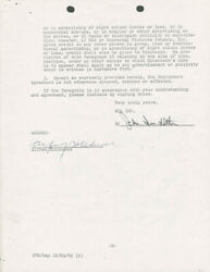 ALFRED HITCHCOCK - CONTRACT SIGNED 12/07/1965