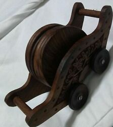 6 Pc Coasters Set On Wheels Table Coasters Hand Carved