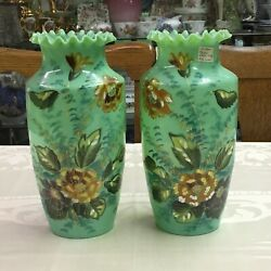 1920's Pair Art Glass Hand Blown Vases Translucent Green Hand Painted Flowers