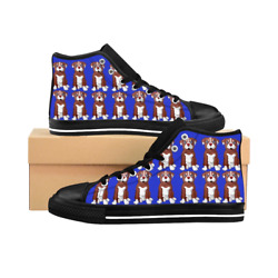 Pitbull Terrier Puppies Dog Men's Blue High-top Sneakers